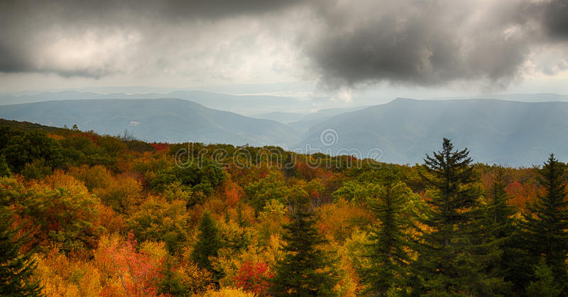 Panorama of stormy hills from Dolly Sods stock photo