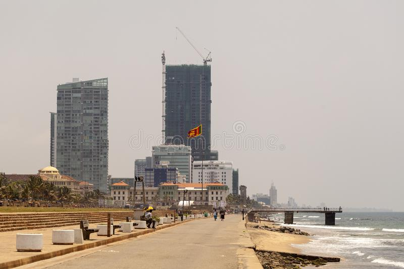 Panorama of the street in the capital of Sri Lanka Colombo city stock photography