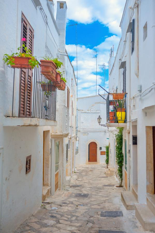 Panorama of the street in the medieval town of Ostuni royalty free stock photo