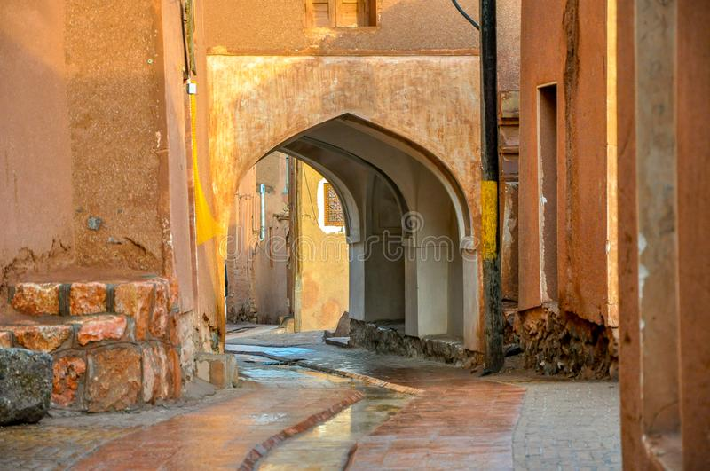 Panorama of the street of the old city in Iran stock image