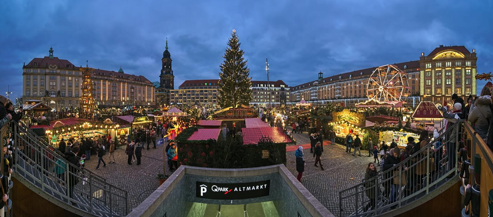 Panorama of Striezelmarkt in Dresden, the one of Germany`s oldest documented Christmas markets stock photography