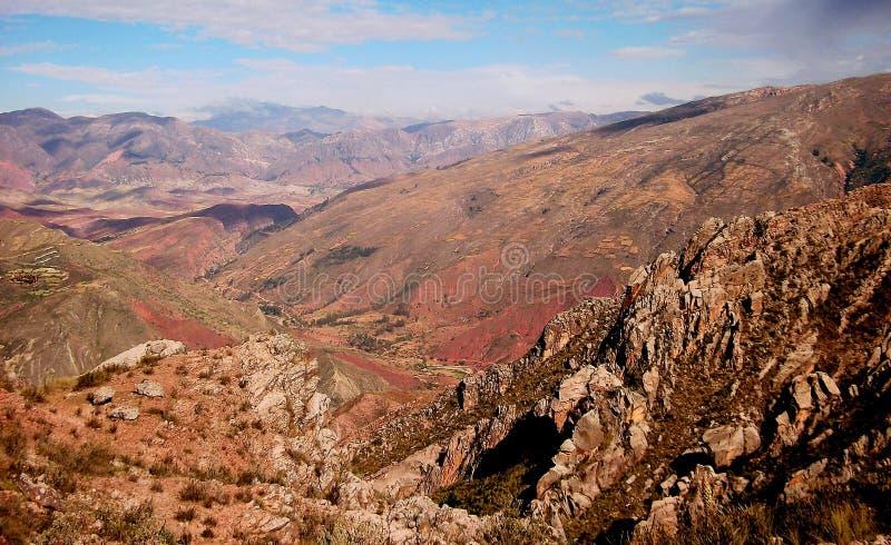 Panorama Sucre della montagna della Bolivia fotografia stock