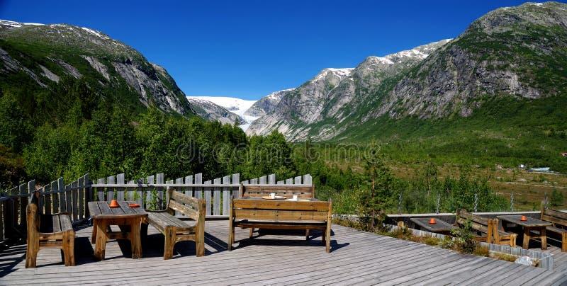 Panorama sul ghiacciaio di Nigardsbreen. La Norvegia immagini stock libere da diritti