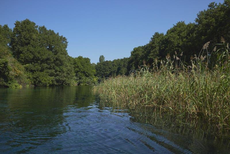 Panorama sul lago ohrid in Macedonia fotografia stock libera da diritti
