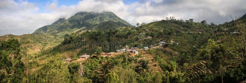 Panorama sulla bella e campagna lussuosa intorno al Nusa Tenggara del ruteng, isola di Flores, Indonesia fotografia stock libera da diritti