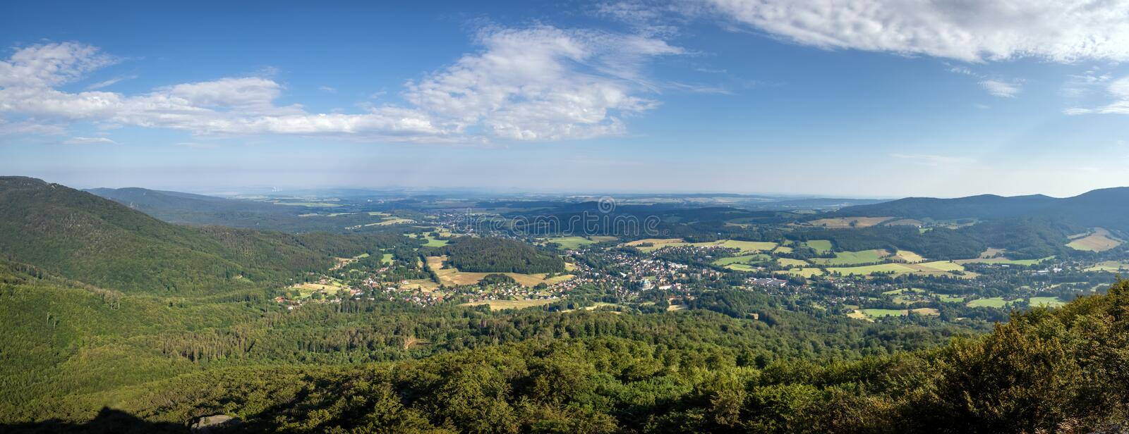 Panorama of summer landscape from high viewpoint stock image