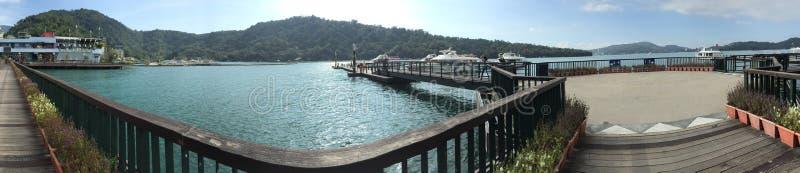Panorama Sun Moon Lake Jetty Taiwan royalty free stock photos