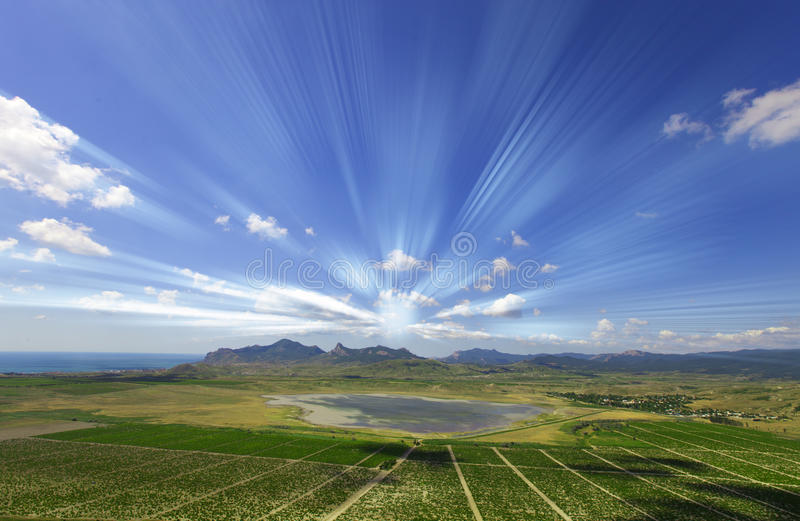 Panorama with sun rays royalty free stock image