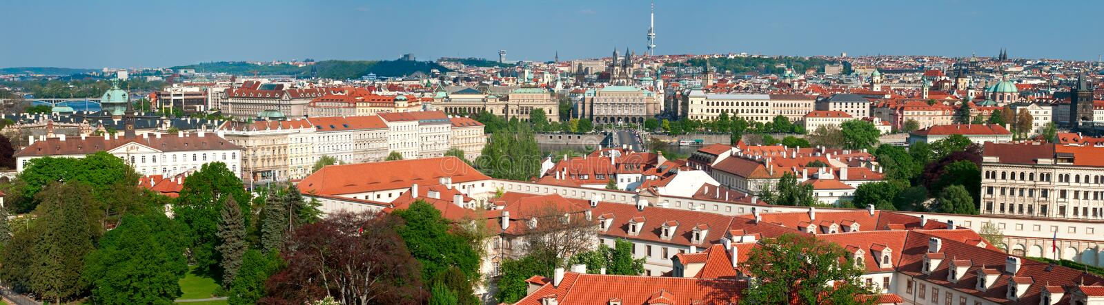 Panorama of sunny Prague stock photos