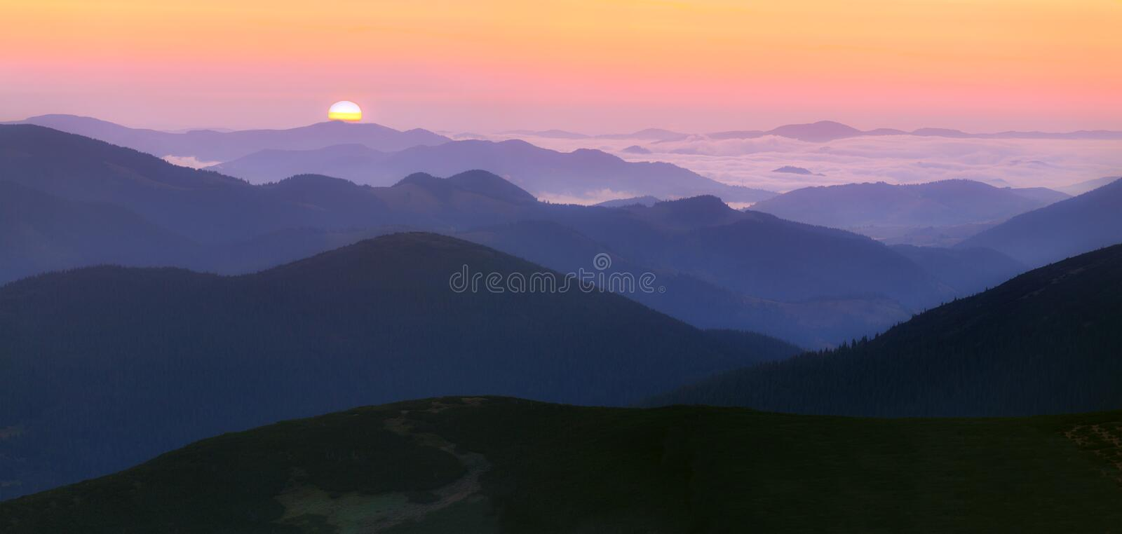 Panorama of the sunrise stock photography