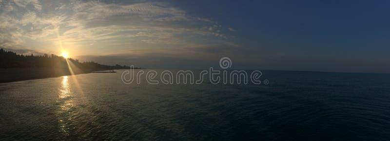 Panorama. Sunrise on the Black sea. Abkhazia stock photos
