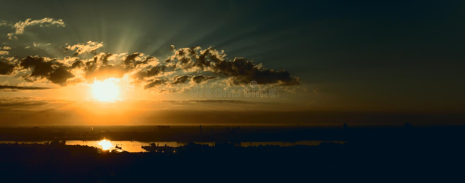 Panorama of sunrise royalty free stock photos