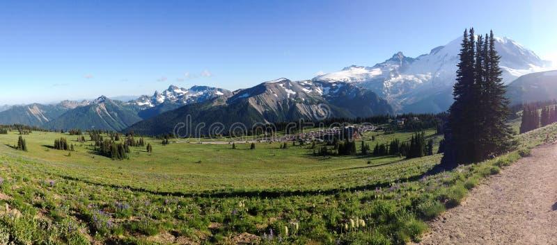 Panorama Of Sunrise, Mt. Rainier, Near The Sourdough Ridge Free Public Domain Cc0 Image