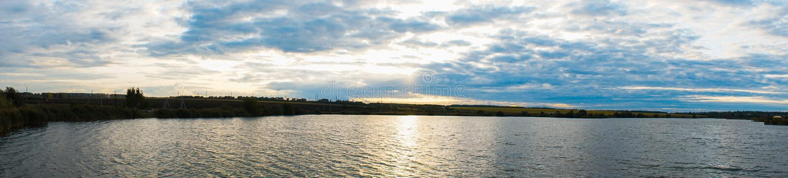 Panorama of sunset blue sky with cirrus clouds royalty free stock photos