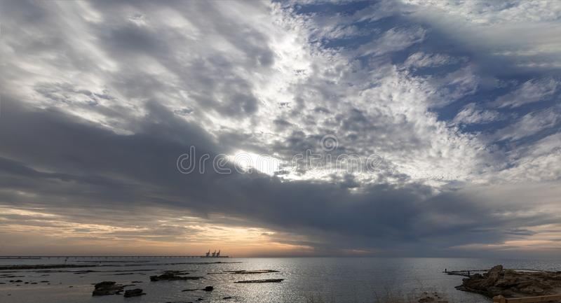 Panorama of the sunset in Caesarea royalty free stock photo