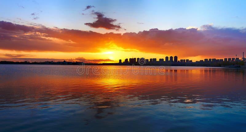 The panorama of sunset ming lake stock photography