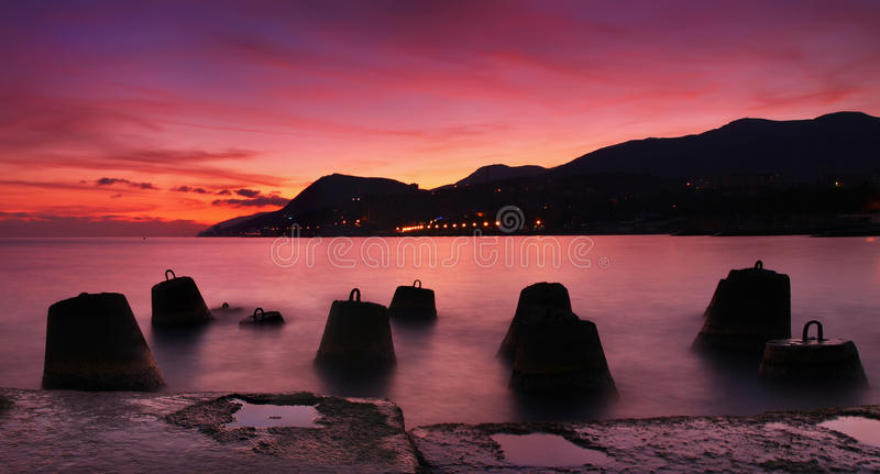 Download Panorama Of The Sunset On The Sea Stock Images - Image: 25653284