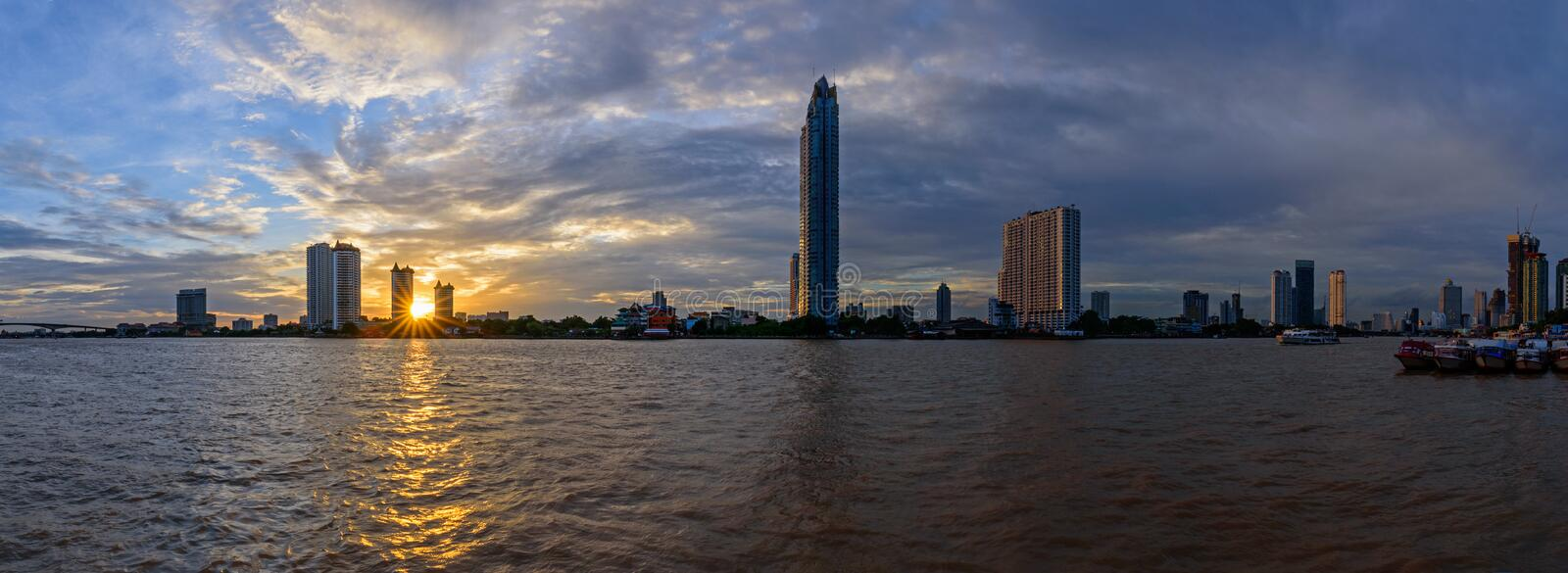 Panorama sunset view at the river royalty free stock photo