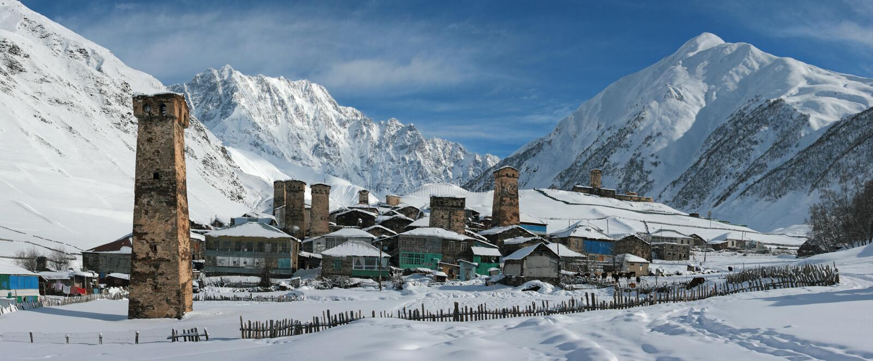 Panorama superior de Ushguli, Geórgia imagens de stock royalty free