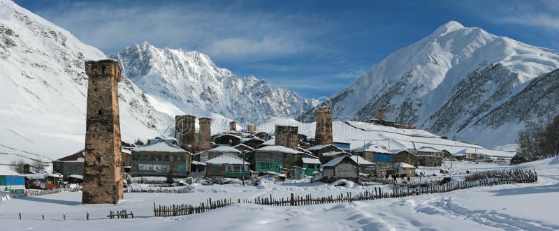 Panorama superior de Ushguli, Georgia imágenes de archivo libres de regalías