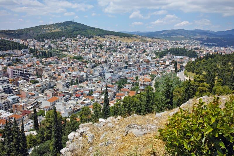 Panorama surpreendente de Lamia City, Grécia foto de stock