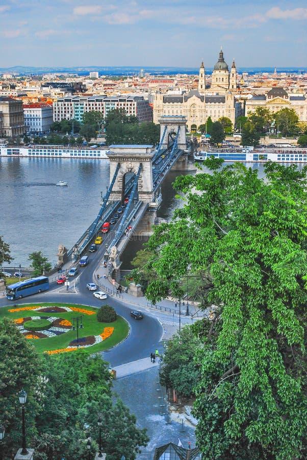 Panorama swoboda most i Rzeczny Danube w Budapest w Węgry na dniu obrazy stock
