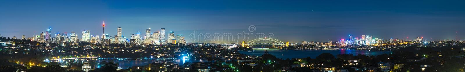 Panorama of Sydney at night stock photography