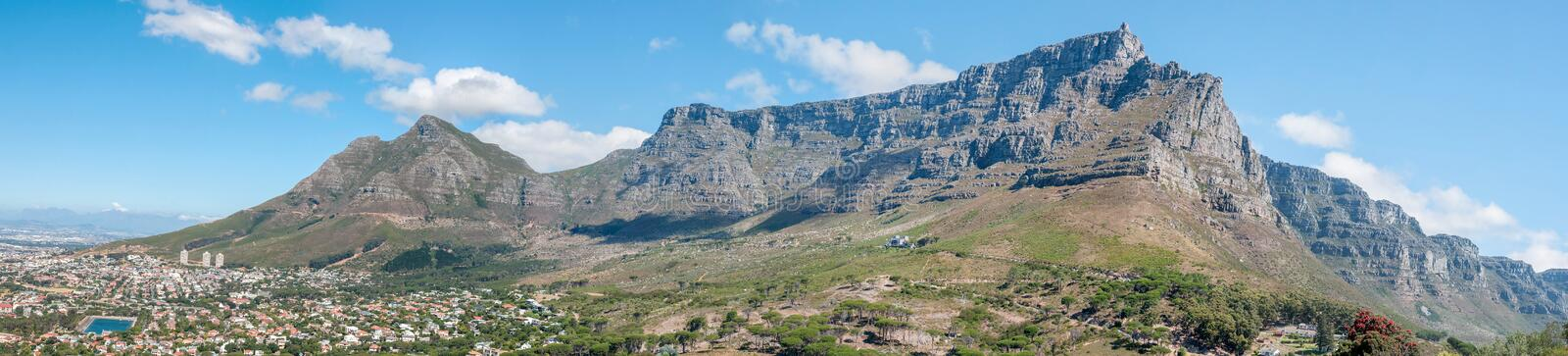 Panorama of Table Mountain and part of Cape Town. As seen from Signal Hill royalty free stock photography