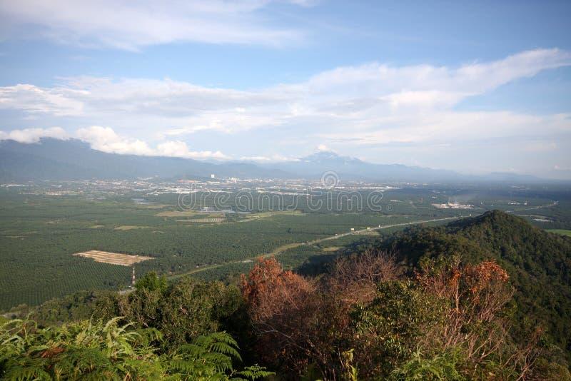 Panorama Taiping miasto od góry Semanggol wysokiego szczytu fotografia stock