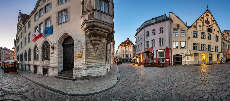Panorama Tallinn Stary miasteczko w ranku, Tallinn zdjęcia stock