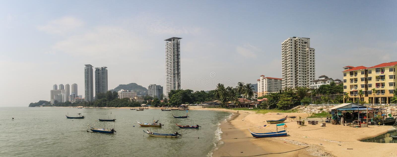 Panorama on Tanjung Bungah, the resort and beach district of georgetown penang, Malaysia. Tanjung Bungah also spelt as Tanjong Bungah is a suburb of George Town stock image