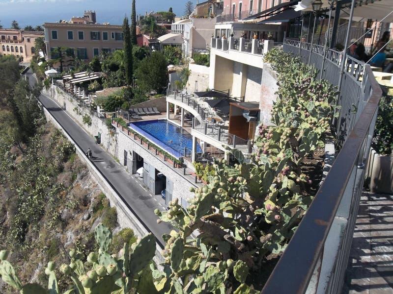 Panorama.Taormina. 免版税库存图片