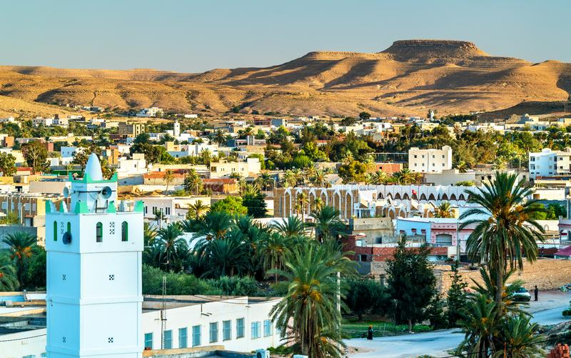 Panorama of Tataouine, a city in southern Tunisia. North Africa stock photos