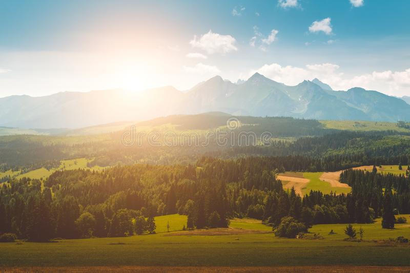 Panorama of Tatra Mountains in summer time royalty free stock images
