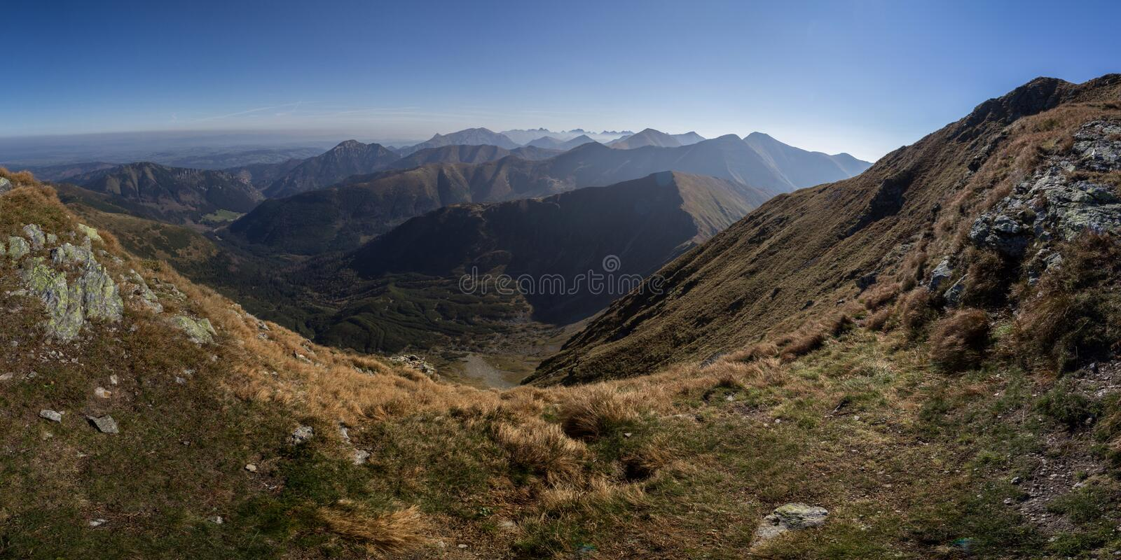 Panorama of Tatra Mountains stock image