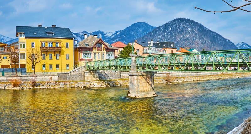 Panorama of Taubersteg bridge, Bad Ischl, Salzkammergut, Austria royalty free stock photo