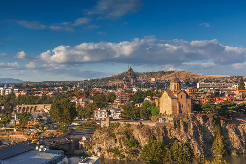 Panorama- Tbilisi, Georgia royaltyfri fotografi