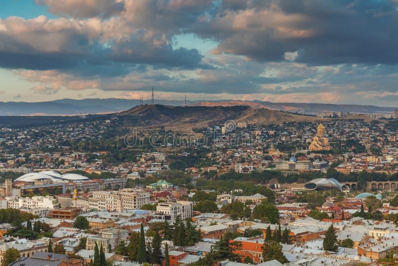 Panorama- Tbilisi, Georgia arkivfoton