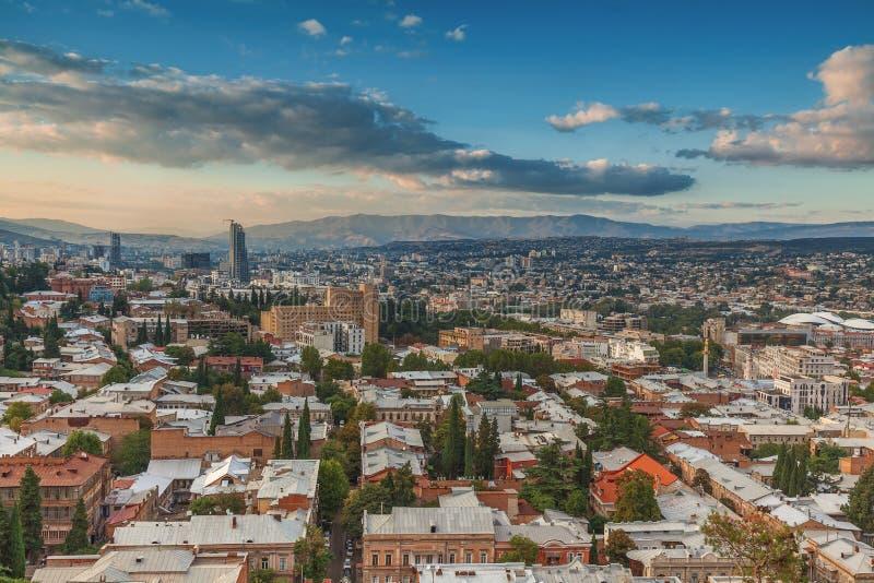 Panorama- Tbilisi, Georgia arkivbild