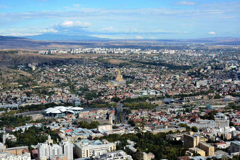 Panorama of Tbilisi stock photography