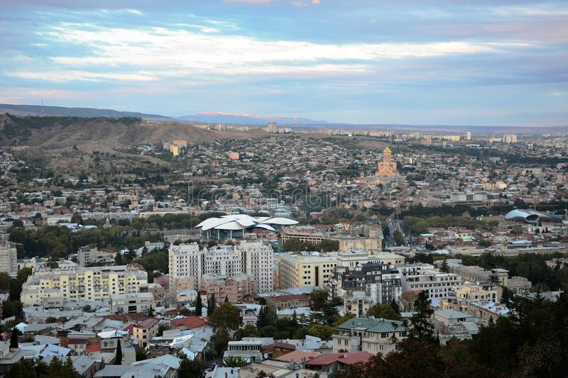 Panorama of Tbilisi stock images