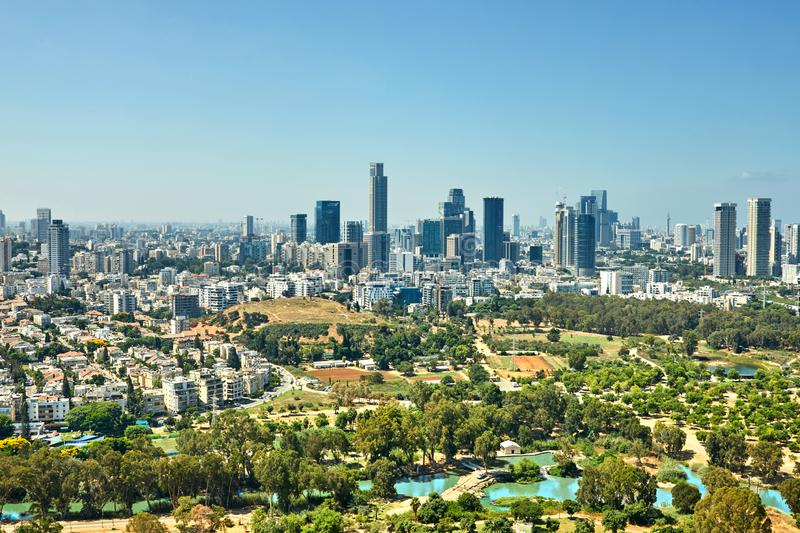 Panorama Tel Aviv overlooking the District of Tel Aviv business center and the highway. From the balloon, traffic, tower, skyscrapers, large, horizon, skyline royalty free stock photos
