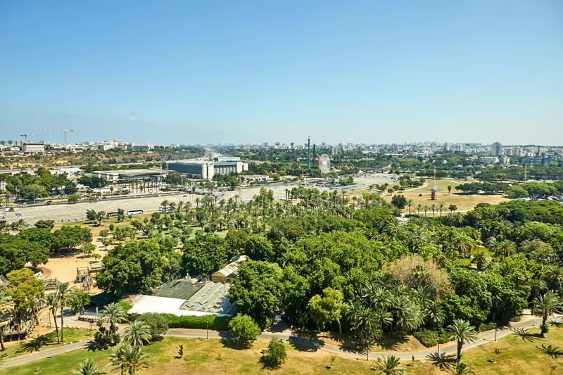 Panorama of Tel Aviv overlooking the Northern Tel Aviv Areas and the amusement park. From a balloon, traffic, tower, skyscrapers, large, horizon, skyline stock photo