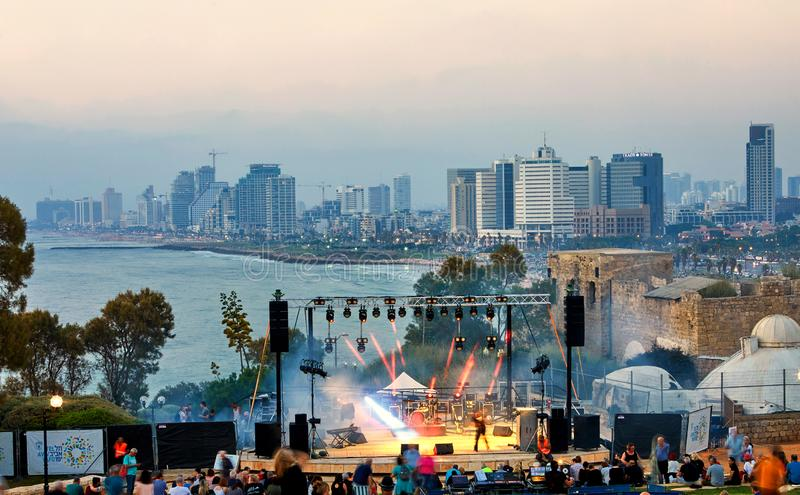 Panorama of Tel Aviv at sunset, coastal line with hotels. View of the stage for performances, evening concerts for the stock images