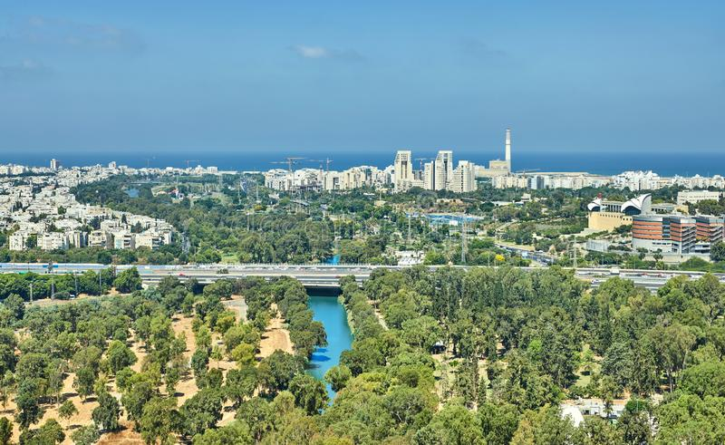 Panorama of Tel Aviv with a view of the North Tel Aviv Areas and the sea. From a balloon, traffic, tower, skyscrapers, large, horizon, skyline, cityscape stock image