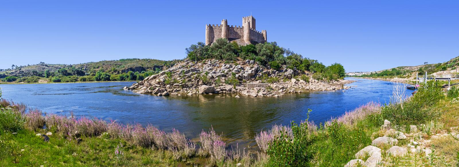 Panorama of the Templar Castle of Almourol and Tagus river. One of the most famous castles in Portugal. Built on a rocky island in the middle of Tagus river stock image
