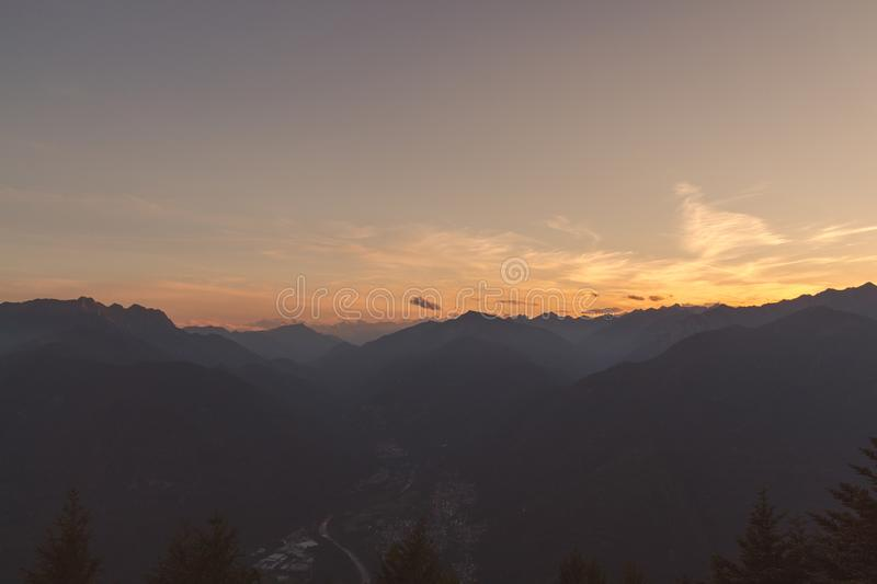 Panorama of terre di pedemonte and Centovalli from cimetta during sunset royalty free stock photos