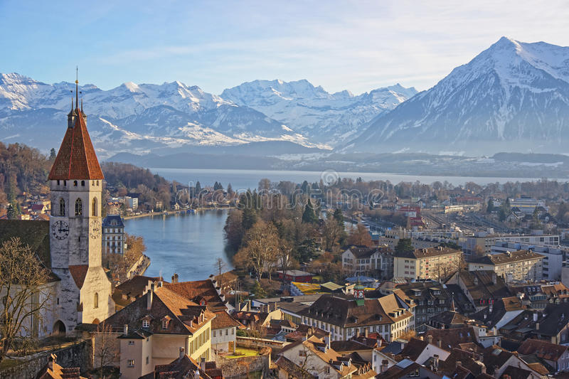 Panorama Of Thun Church And Town With Alps And Thunersee Stock Photo
