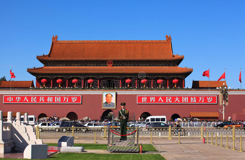 Download Panorama of Tiananmen Gate editorial stock image. Image of guard - 18390919