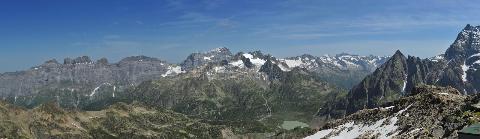 Panorama from Tierbergli Hut royalty free stock images